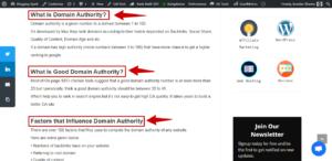 keywords in sub headings