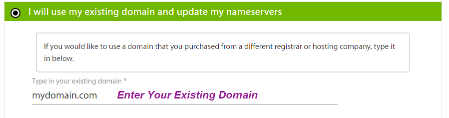 use exiting domain