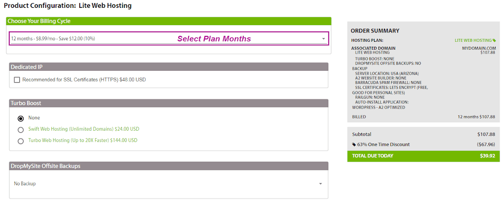 select plan duration