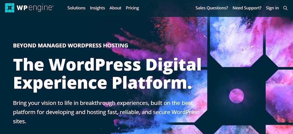 wpengine wordpress hosting home page