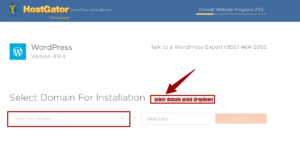 Select Domain for installation