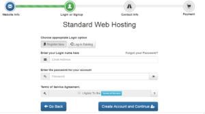 create a hosting account