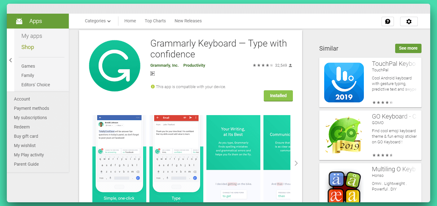 Grammarly Android app