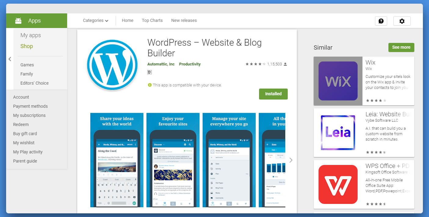 Wordpress Android app