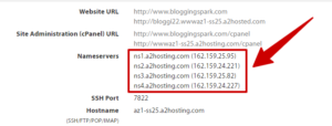 nameservers a2hosting