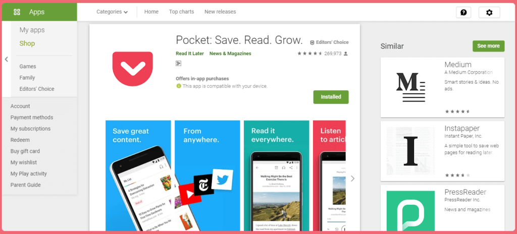 pocket android application