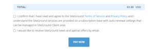 Siteground Checkout