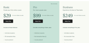 Teachable Pricing Plans