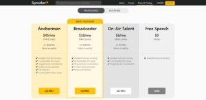 Plans and Pricing of Spreaker