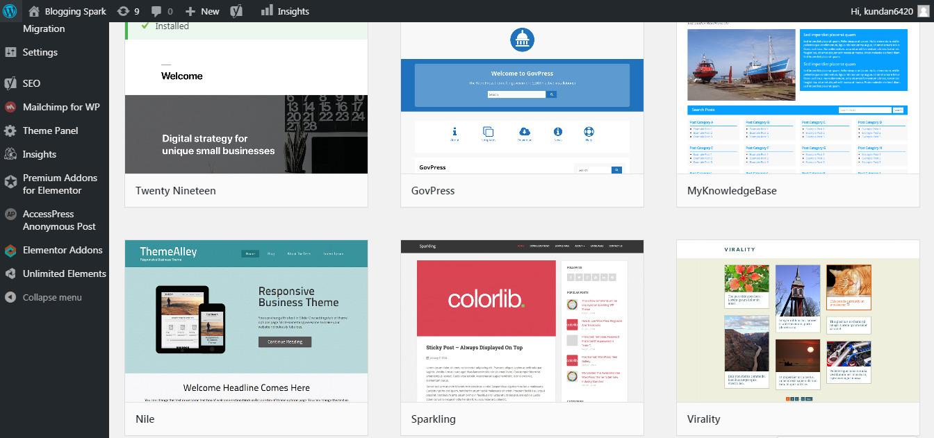 wordpress themes area