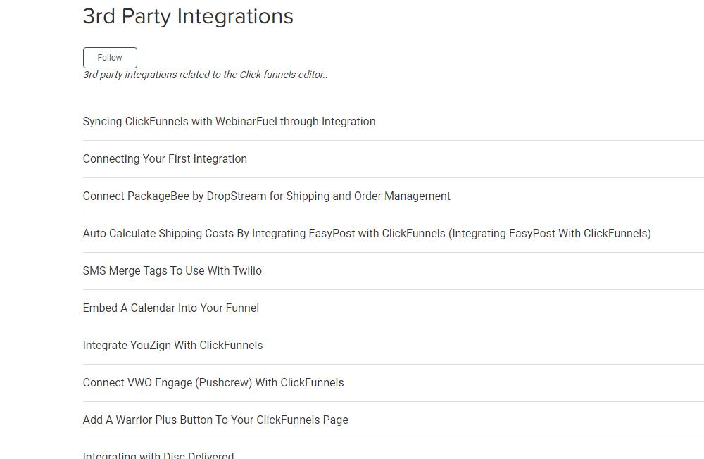 3rd Party Integrations ClickFunnels