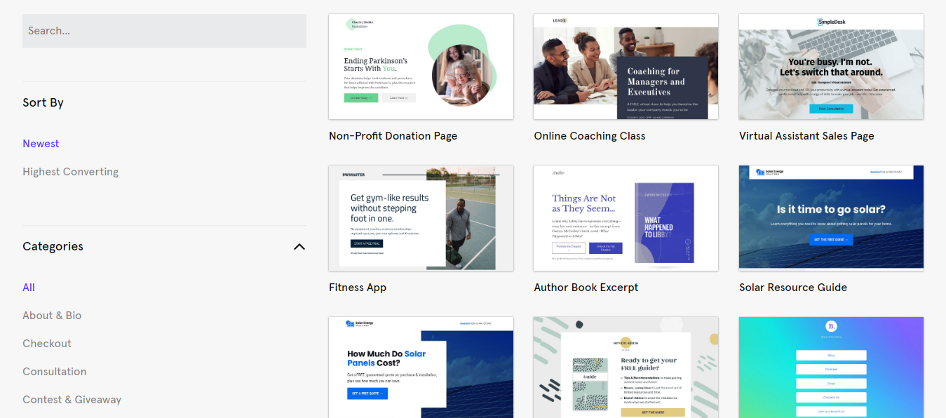 Template Gallery of Leadpages