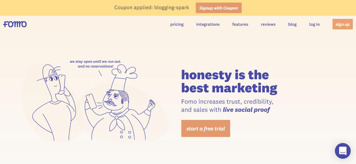 Fomo Social Proof Coupon Code Blogging Spark