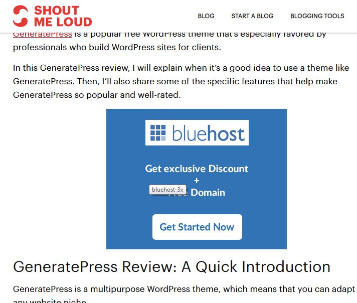 affiliate marketing example of shoutmeloud
