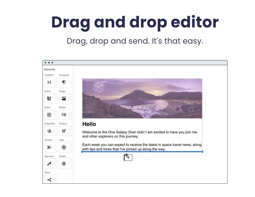 Aweber drag and drop editor
