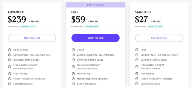 Leadpages pricing free trial