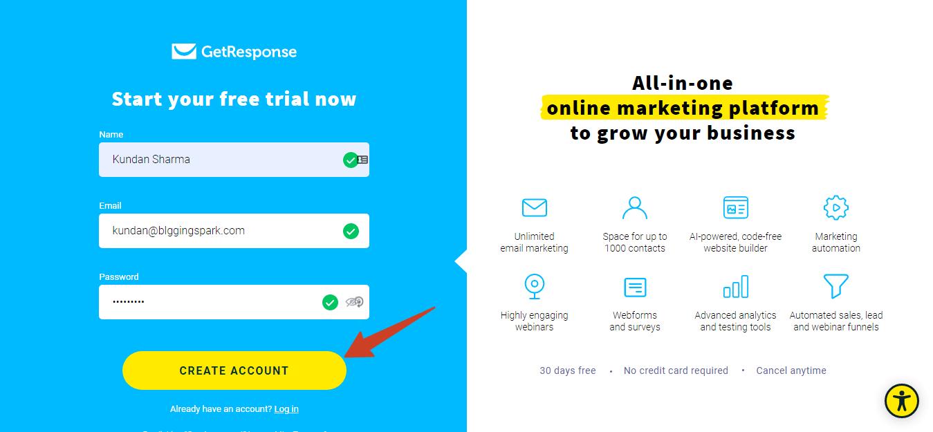 getresponse account