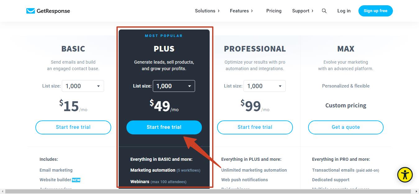 getresponse pricing plans