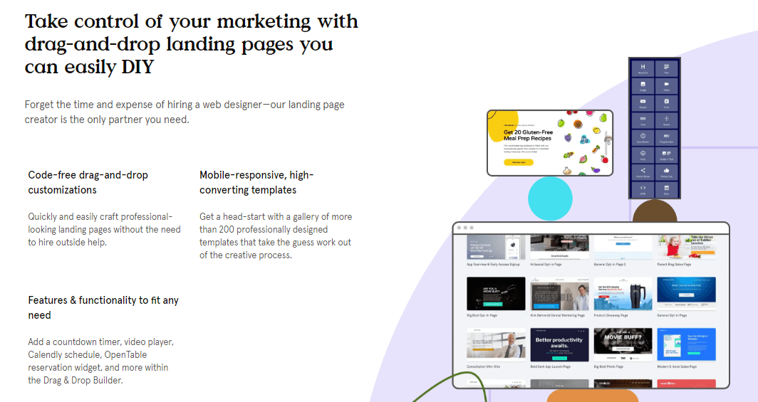 leadpages drag and drop tool